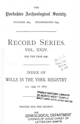 Index of wills in the York Registry, Vol  24  Index to wills in the