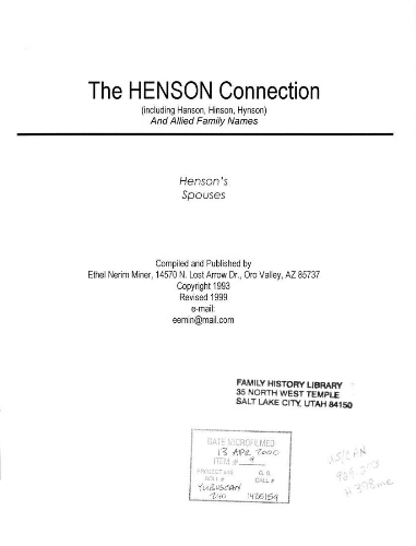 The Henson connection (including Hanson, Hinson, Hynson) and allied