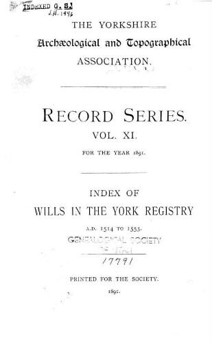 Index of wills in the York Registry, Vol  11  Index to wills in the