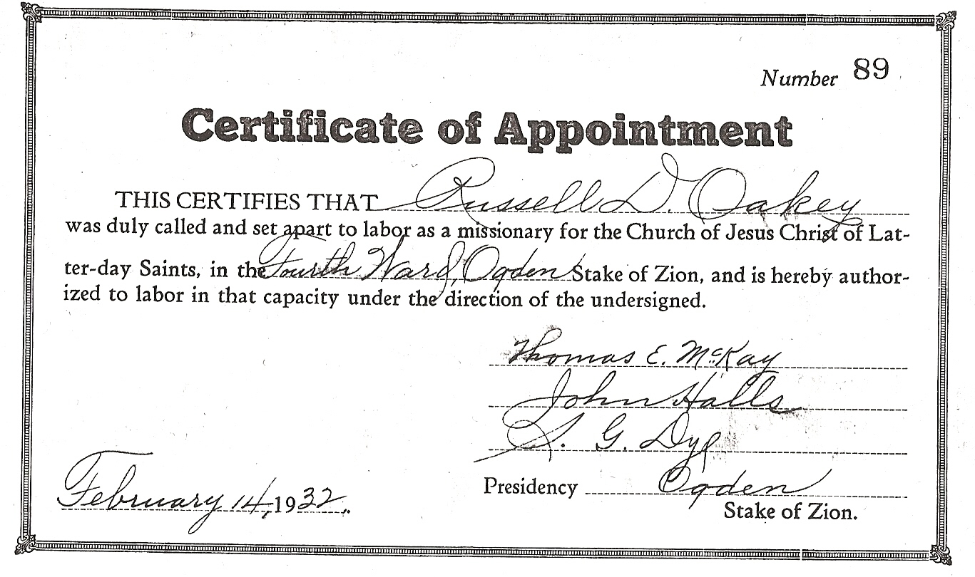 certificate appointment missionary familysearch patron
