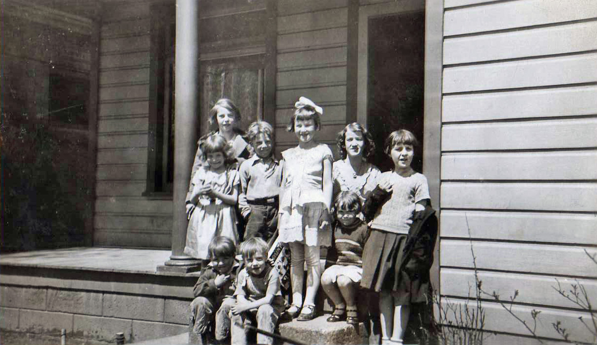 Just a little neighborly gathering - Melissa Jane Larsen, second from the right, back row.