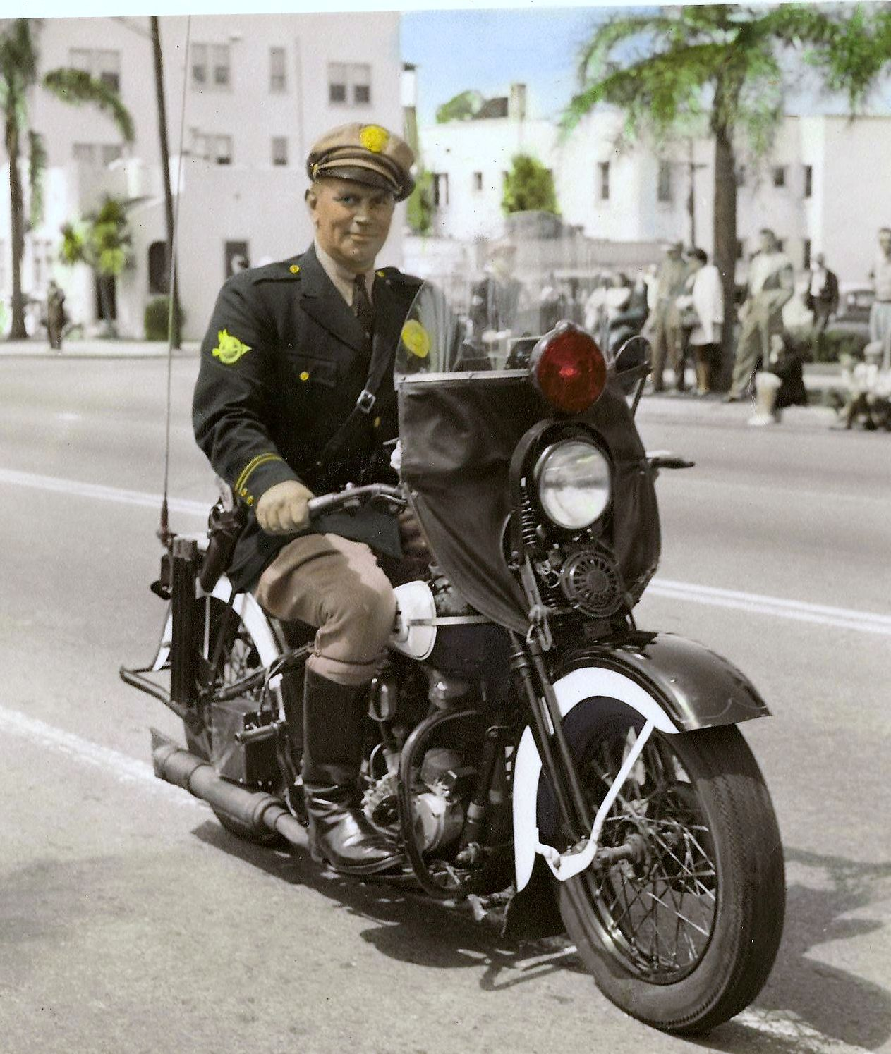 George B. Allman, 1947, San Diego Motocycle division of the San Diego Police Depatment.  Parade in Balboa Park, San Diego, California.