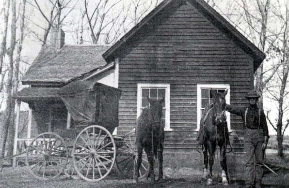 Ephraim Knowlton Hanks' Homestead. William George Morrill the ranch foreman after Ephraim's death. The home burned down in 1945. Photo from Teton Hanks Jackman collection.
