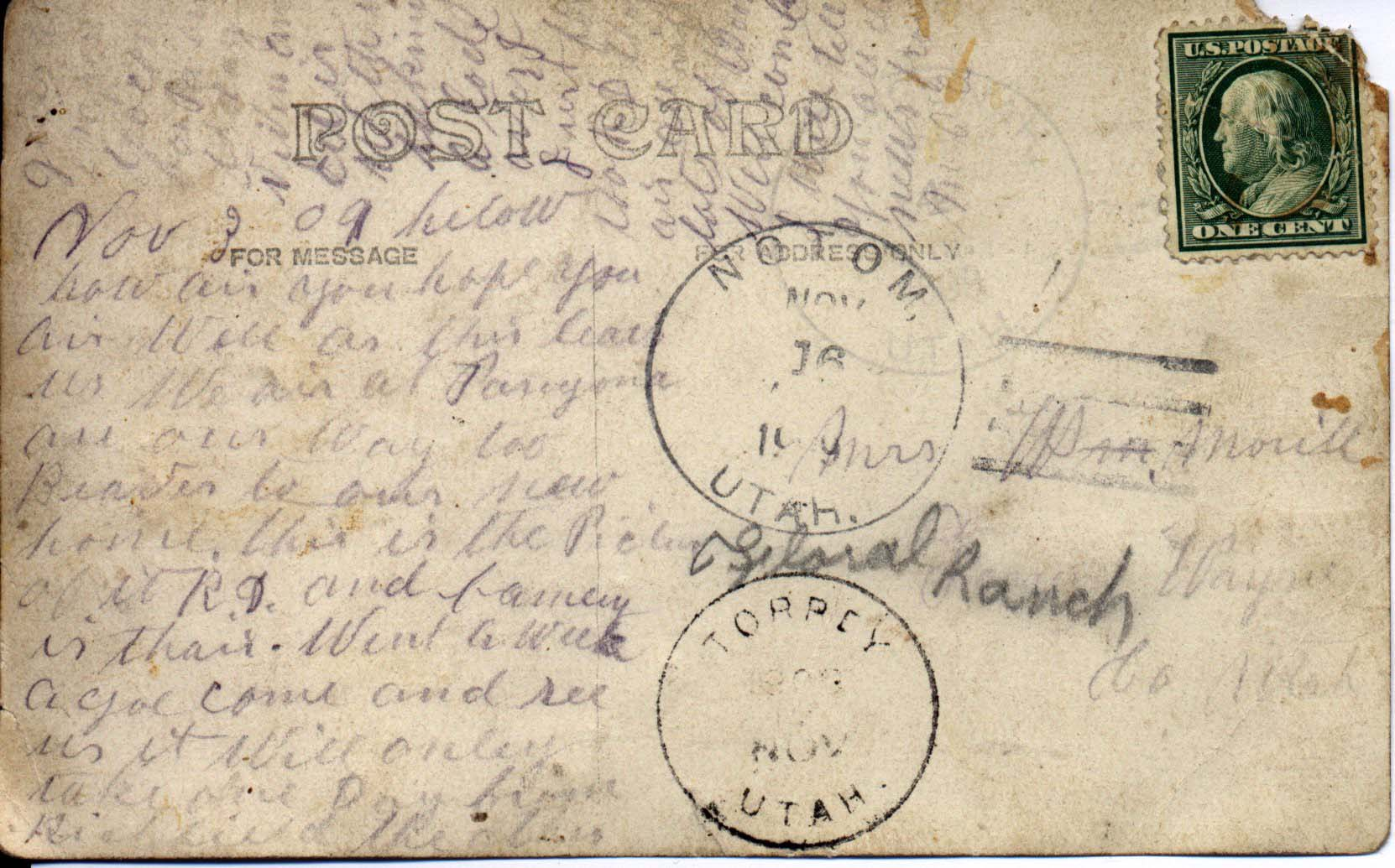 Will Morrill is the foreman for Arthur Eugene Hanks on the Floral Ranch after Ephraim Hanks' death. In possession of Sherry M. Smith.