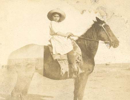 "Lorilla Spencer on her horse ""Front-half"" 1898"