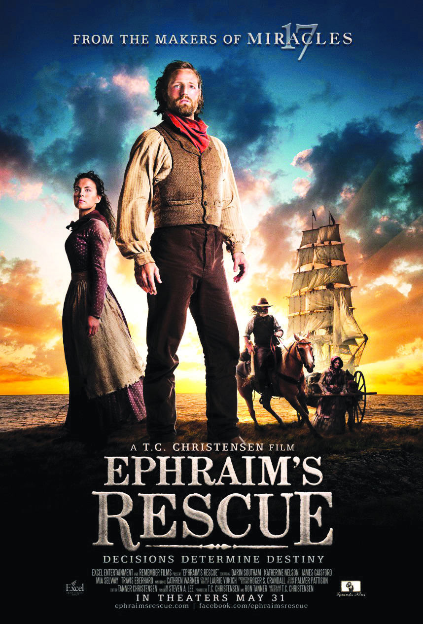 "Movie poster for T.C. Christensen's film, ""Ephraim's Rescue,"" released in movie theaters on May 31, 2012.  The film is available for purchase in the DVD format."