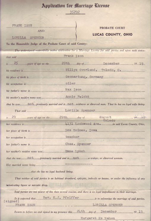 Marriage Application 1919