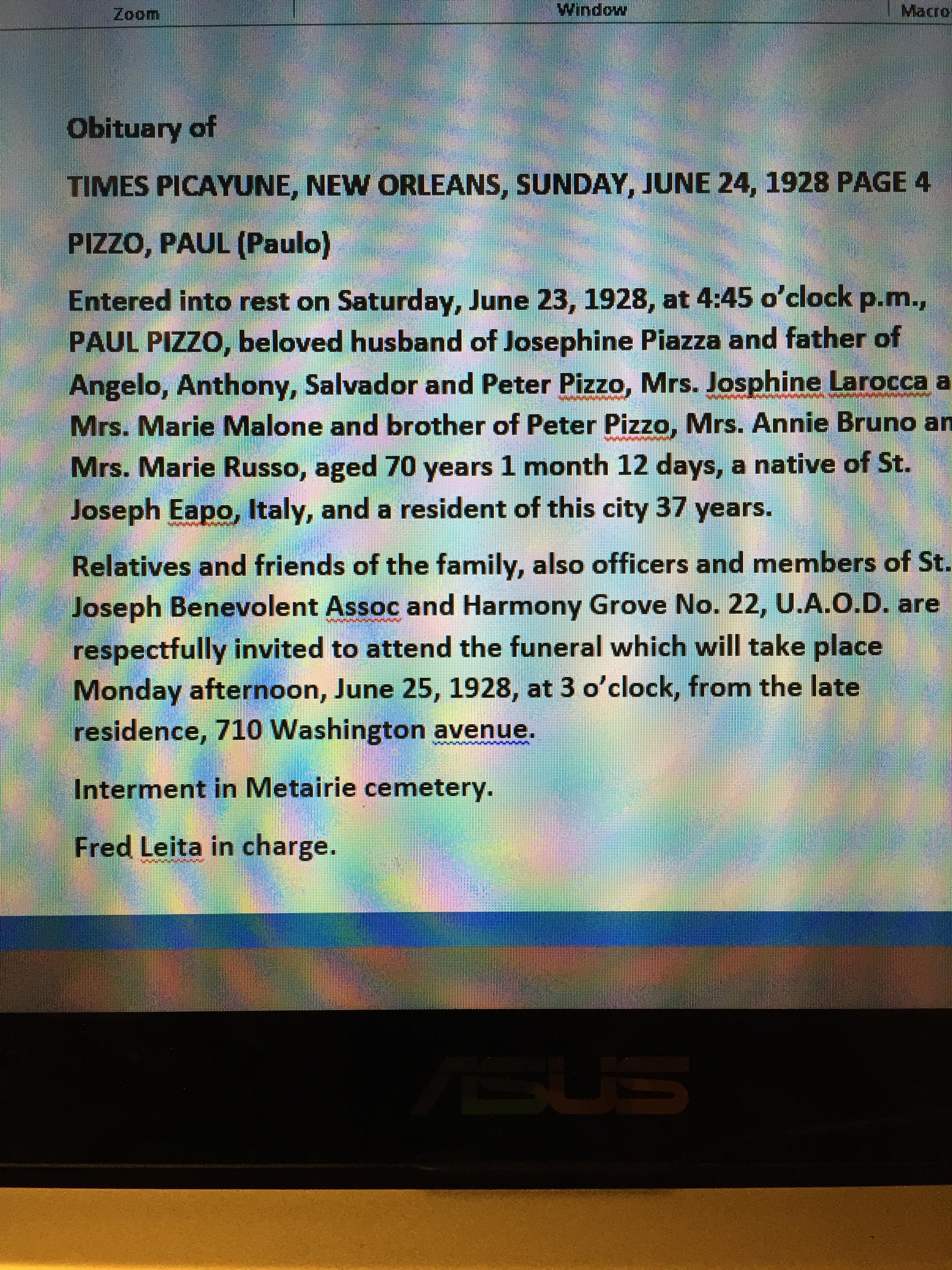 paul pizzo obituary new orleans times picayune photos and paul pizzo obituary new orleans times picayune photos and stories org